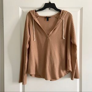H&M Brown Tan Henley Light Weight Hoodie Medium
